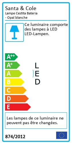 Lampe Cestita Bateria - Opal blancheLabel énergétique